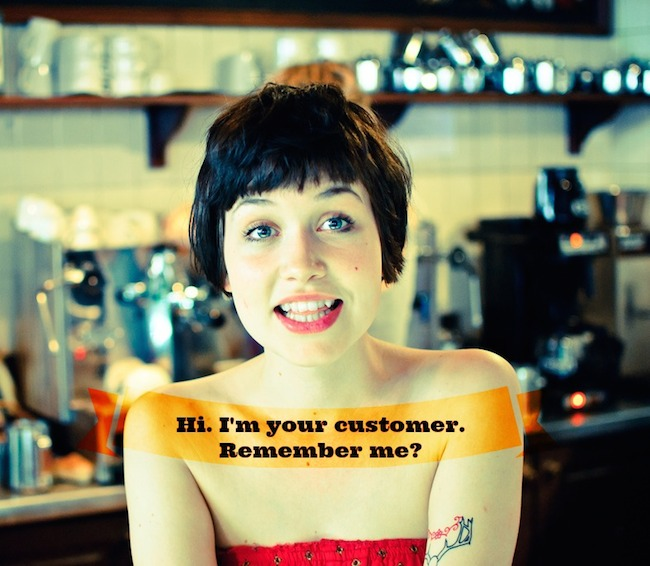image of a woman with short hair and quote Hi, I'm your customer, remember be?